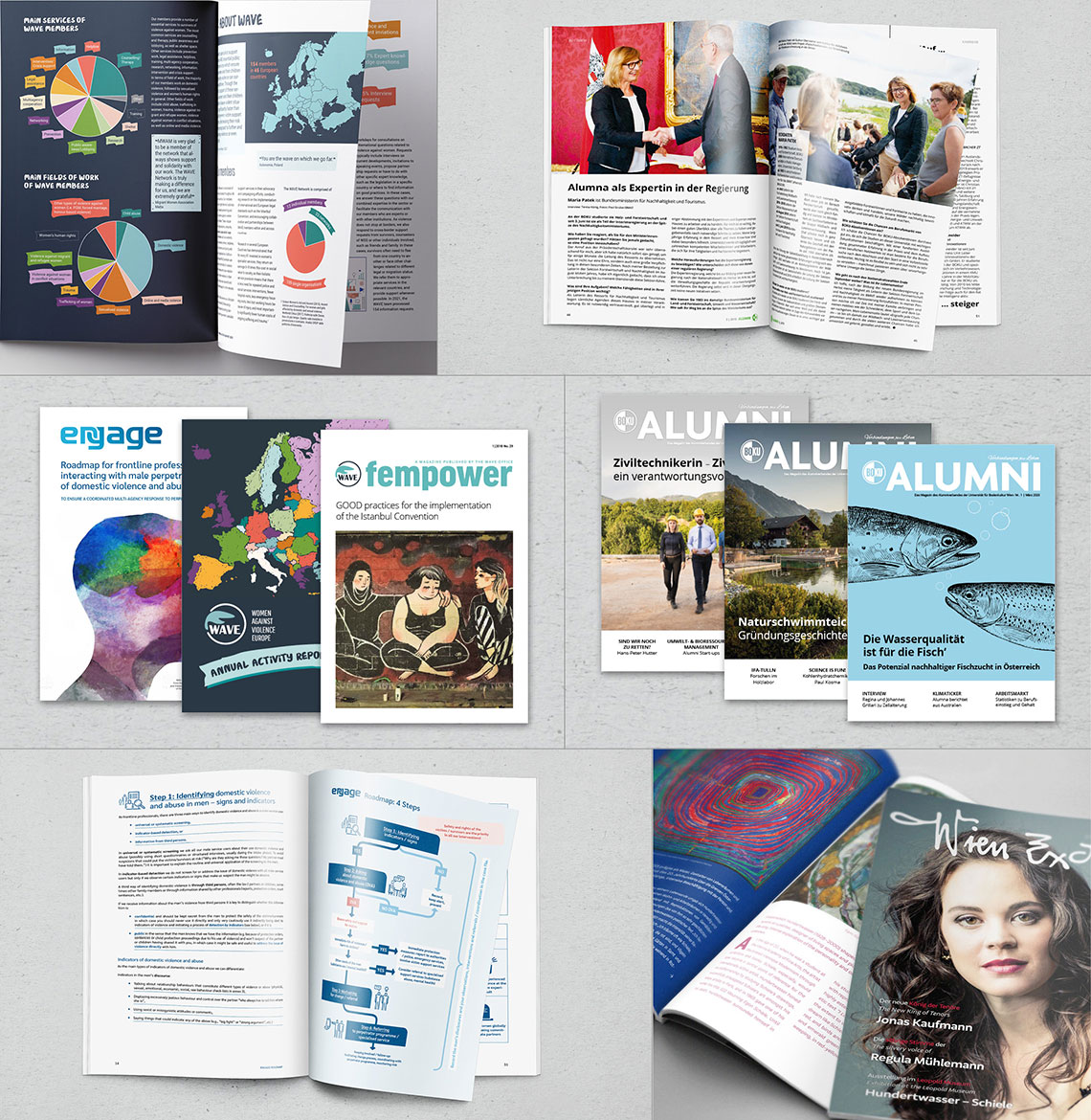editorial design of magazines, books and reports